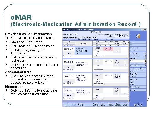 Screen shot of the Electronic-Medication Administration Record (eMAR ...