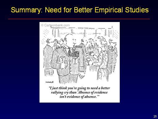 Summary: Need for Better Empirical Studies: Slide ...