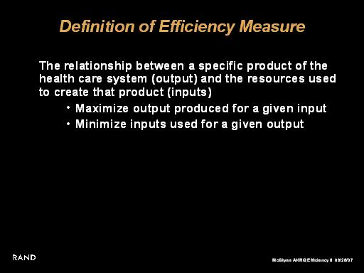 Definition of Efficiency Measure: Slide Presentation from ...