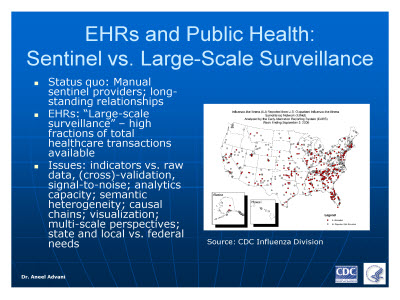 Slide 2. EHRs and Public Health: Sentinel vs. Large-Scale Surveillance