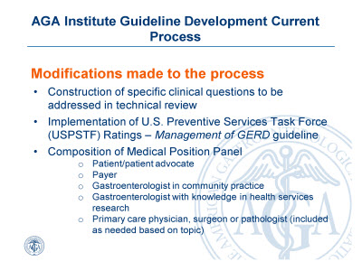 Slide 4. AGA Institute Guideline Development Current Process: Modifications made to the process