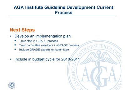 Slide 9. AGA Institute Guideline Development Current Process: Next Steps