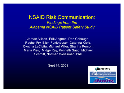 Slide 1. NSAID Risk Communication: Findings from the Alabama NSAID Patient Safety Study