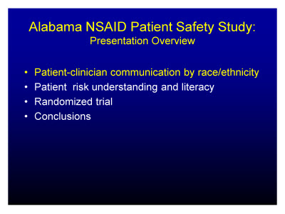 Slide 10. Alabama NSAID Patient Safety Study: Presentation Overview
