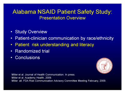 Slide 16. Alabama NSAID Patient Safety Study: Presentation Overview