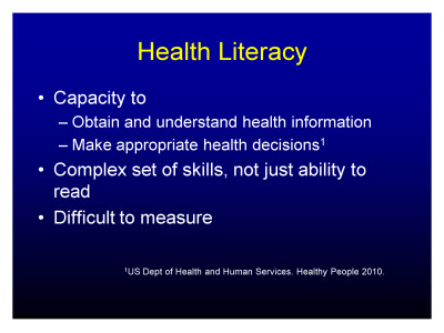 Slide 17. Health Literacy