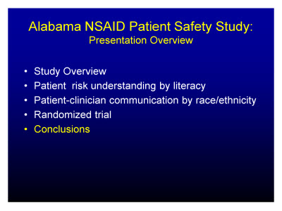 Slide 22. Alabama NSAID Patient Safety Study: Presentation Overview