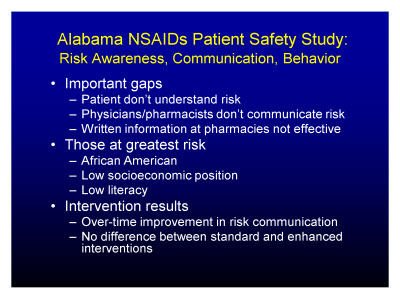 Slide 23. Alabama NSAIDs Patient Safety Study: Risk Awareness, Communication, Behavior