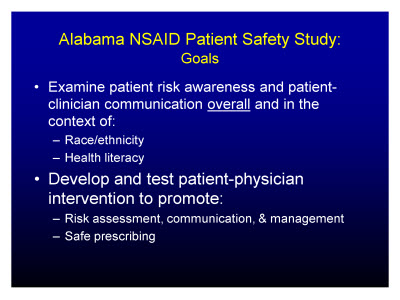 Slide 3. Alabama NSAID Patient Safety Study:  Goals