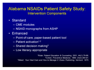 Slide 4. Alabama NSAIDs Patient Safety Study: Intervention Components