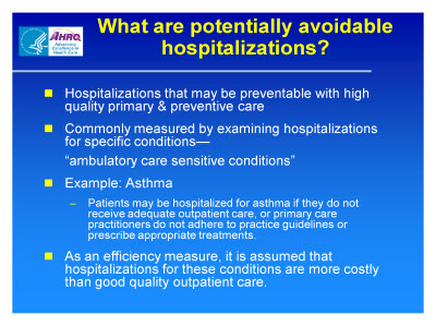 Slide 2. What are potentially avoidable hospitalizations?