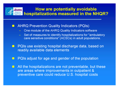 Slide 3. How are potentially avoidable hospitalizations measured in the NHQR?
