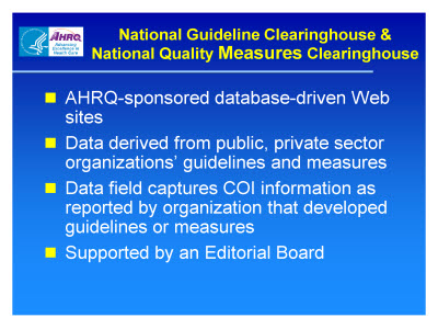 Slide 5. National Guideline Clearinghouse and National Quality Measures Clearinghouse