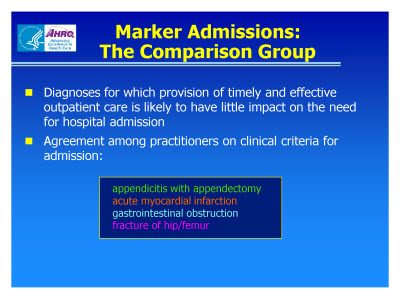 Slide 12. Marker Admissions: The Comparison Group