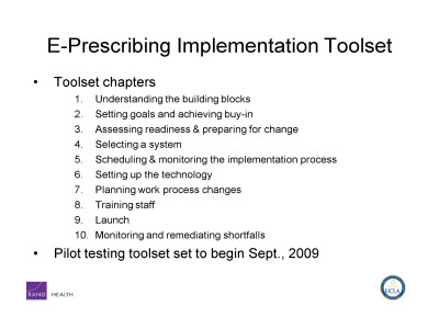 Slide 15. E-Prescribing Implementation Toolset