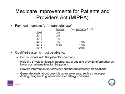 Slide 8. Medicare Improvements for Patients and Providers Act (MIPPA)