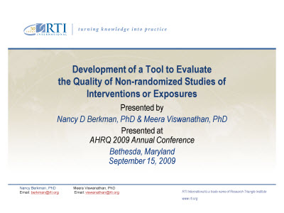 Slide 1. Development of a Tool to Evaluate the Quality of Non-randomized Studies of Interventions or Exposures.