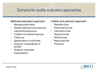 Slide 10. Domains for Quality Evaluation Approaches