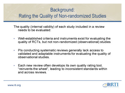 Slide 4. Background: Rating the Quality of Non-randomized Studies