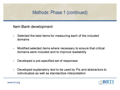Slide 7. Methods: Phase 1 (continued)
