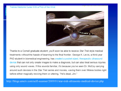 Slide 3. A screen capture of a blog post discussing a Star-Trek style medical analysis Tool