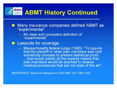 Slide 7. ABMT History Continued