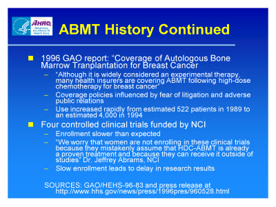 Slide 8. ABMT History Continued