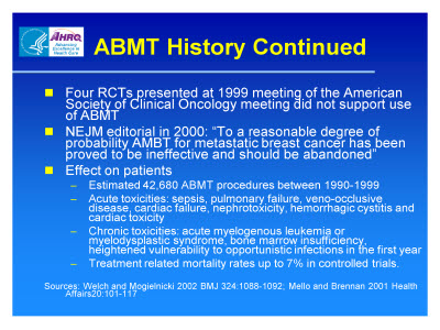Slide 9. ABMT History Continued