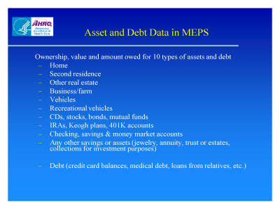 Slide 7. Asset and Debt Data in MEPS