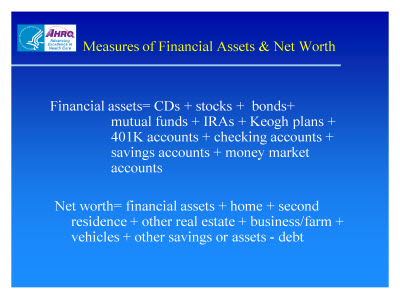 Slide 8. Measures of Financial Assets and Net Worth