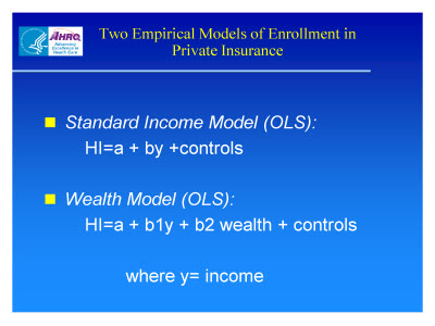 Slide 9. Two Empirical Models of Enrollment in Private Insurance