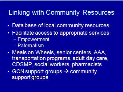 Slide 10. Linking with Community Resources