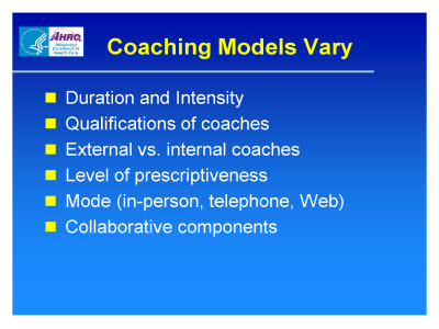 Slide 5. Coaching Models Vary