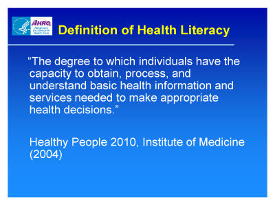 Slide 2. Definition of Health Literacy. Text Description is below the image.