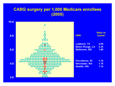 Slide 13. CABG surgery per 1,000 Medicare enrollees (2005)