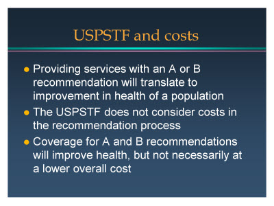 Slide 16. USPSTF and costs
