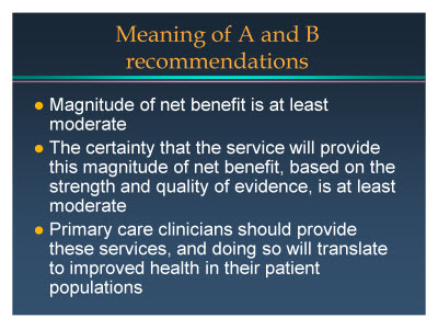 Slide 7. Meaning of A and B recommendations