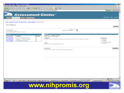 Slide 28. Screen Capture of http://www.nihpromis.org