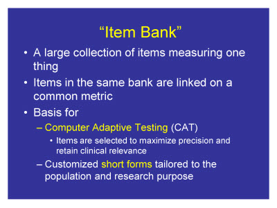"Slide 5. ""Item Bank"""