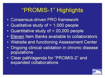 "Slide 7. ""PROMIS-1"" Highlights"