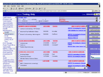 Slide 12. Screen Capture of the Health Maintenance screen
