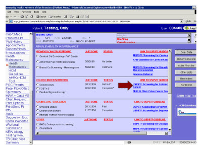 Slide 18. Screen Capture of search result of colorectal cancer screening