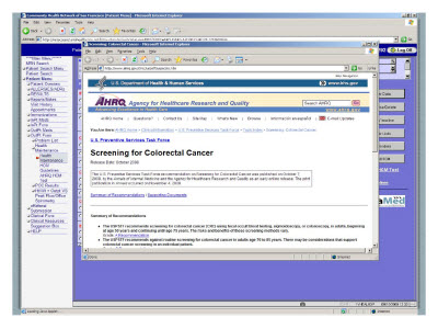 Slide 19. Screen Capture of Screening for Colorectal Cancer screen