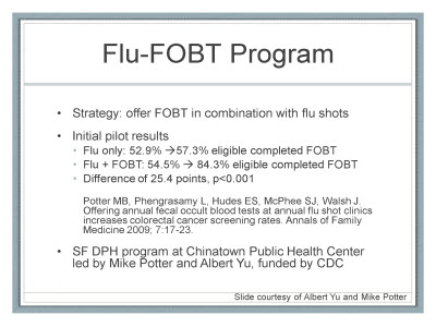 Slide 21. Flu-FOBT Program