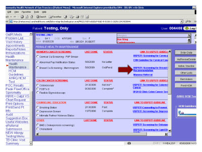 Slide 27. Screen Capture of the search results for Breast Cancer Screening