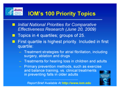 Slide 18. IOM's 100 Priority Topics