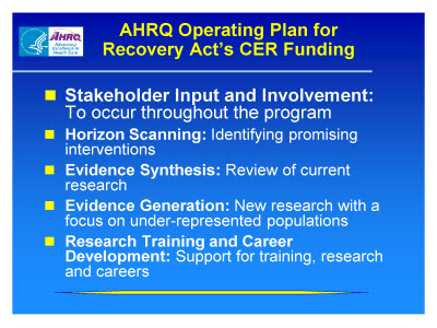 Slide 19. AHRQ Operating Plan for Recovery Act's CER Funding