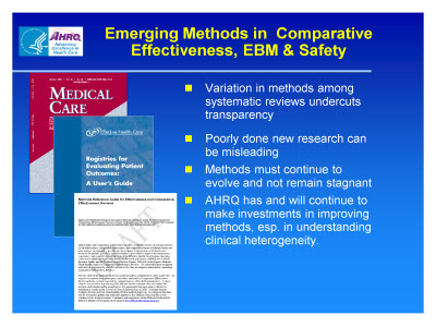Slide 25. Emerging Methods in  Comparative Effectiveness, EBM and Safety