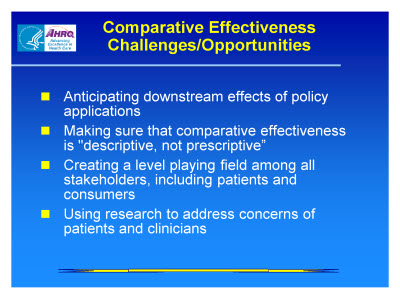 Slide 27. Comparative Effectiveness Challenges/Opportunities