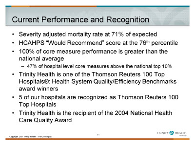 Slide 11. Current Performance and Recognition